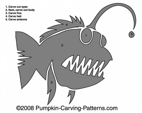 Anglerfish Pumpkin Carving Pattern
