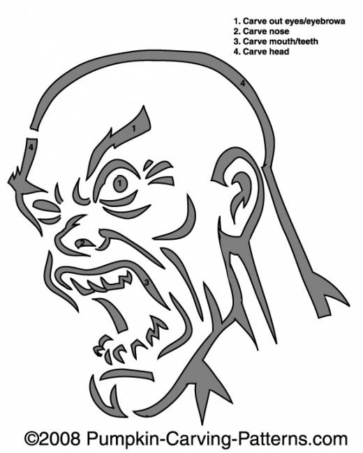 Angry Zombie Pumpkin Carving Pattern