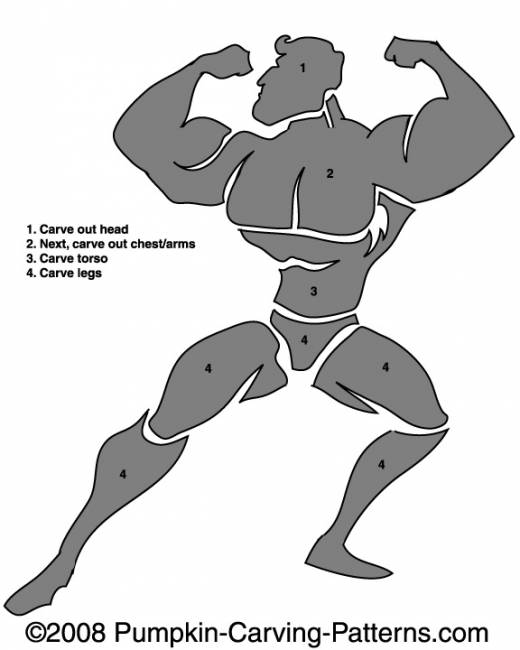 Body Builder Pumpkin Carving Pattern