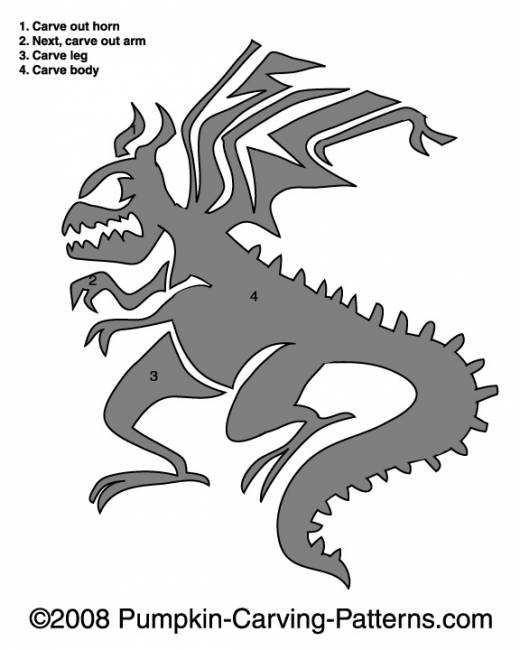 Fire Breathing Dragon Pumpkin Carving Pattern