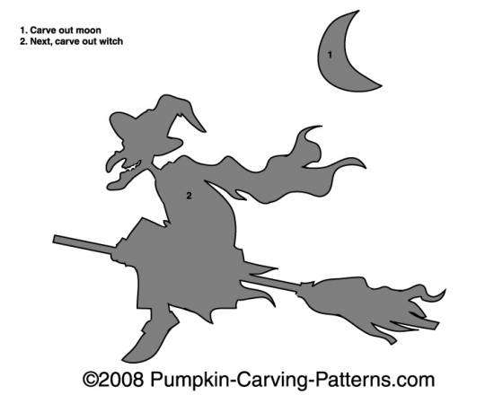 Flying Witch Pumpkin Carving Pattern