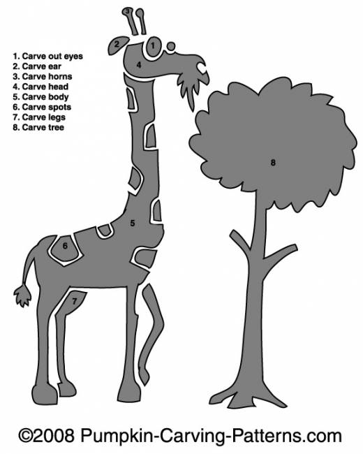 Grazing Giraffe Pumpkin Carving Pattern