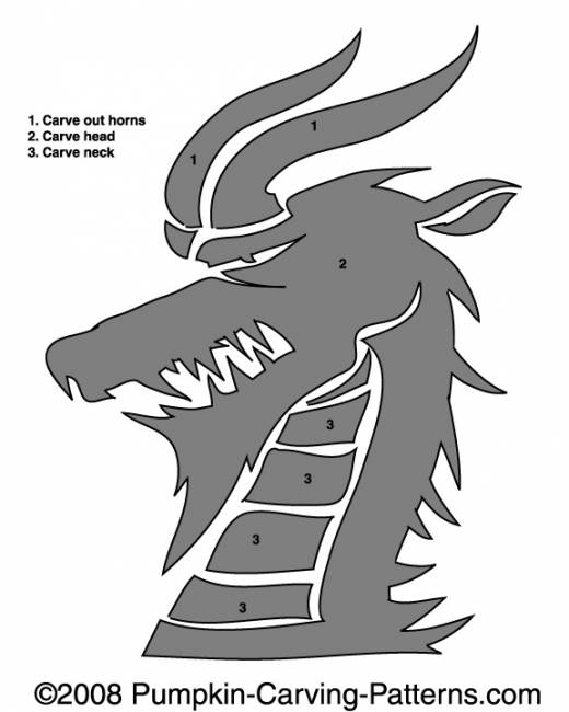 Horned Hairy Dragon Pumpkin Carving Pattern