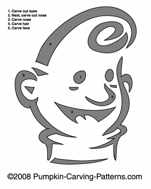 Kewpie Doll Pumpkin Carving Pattern