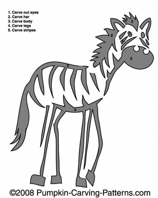 Lazy Zebra Pumpkin Carving Pattern