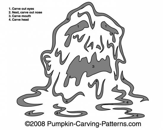 Oozing Monster Pumpkin Carving Pattern