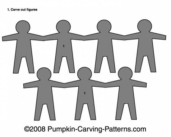 Paper People Chain Pumpkin Carving Pattern