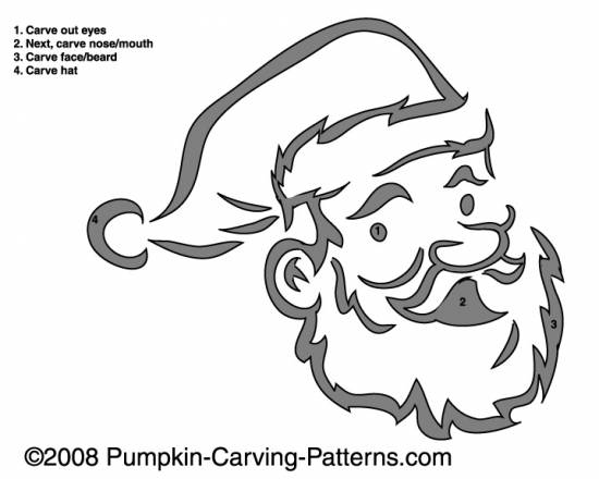 Santa Claus Pumpkin Carving Pattern