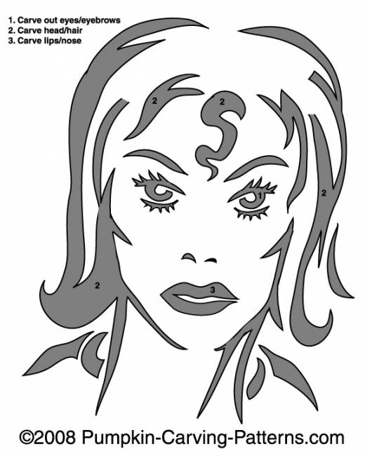 Scary Lady Pumpkin Carving Pattern