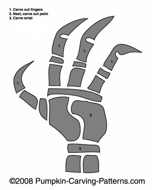 Skeleton Hand Pumpkin Carving Pattern